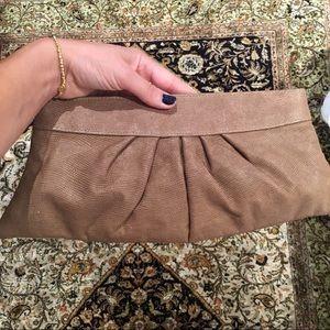 Tan Lauren Merkin leather clutch
